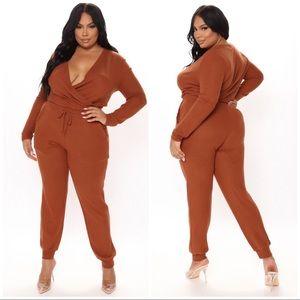 Plus Size Cognac Jumpsuit